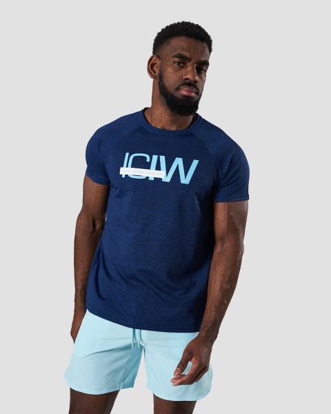 Training Mesh T shirt Deep Blue Melange Men | Kjøp treningsklær