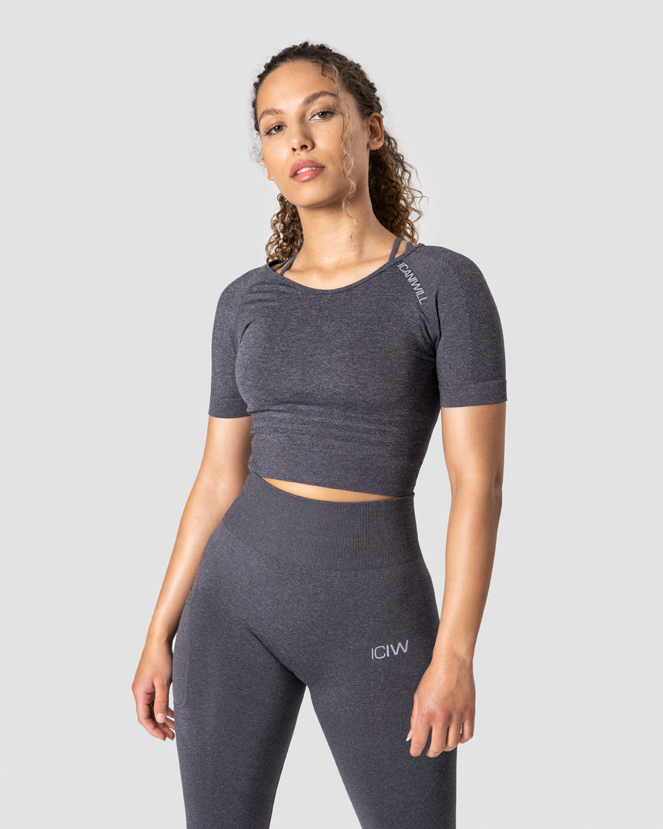 Define Seamless Cropped T-shirt Grey Melange Wmn