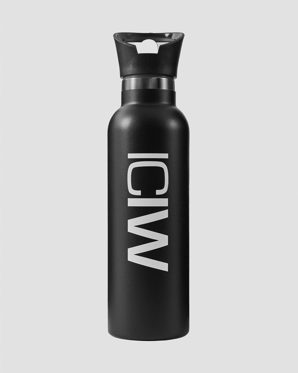 Stainless Steel Water Bottle Black/White 600ml