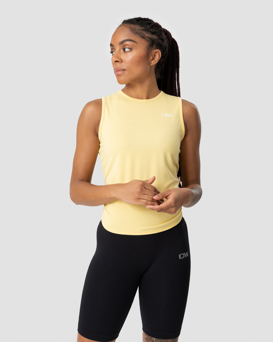 Empowering Open Back Tank Top Lemon